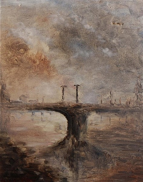 20TH CENTURY ENGLISH SCHOOL Lambeth Bridge, indistinctly signed, oils