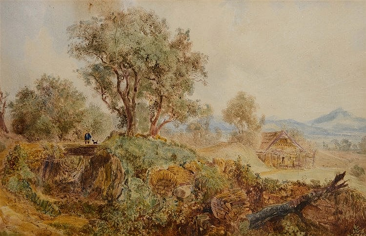 19TH CENTURY SCHOOL Figures in an extensive landscape, watercolour, 18