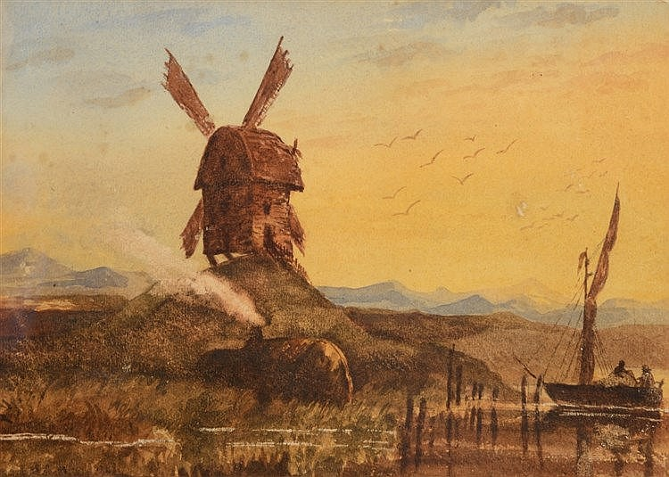 FOLLOWER OF DAVID COX Landscape with windmill and boat at sunset, wate