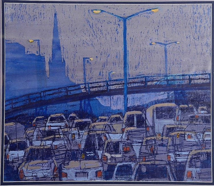 DAVID EDMUNDS 'Traffic at Dusk', mixed media, 38 x 47cm