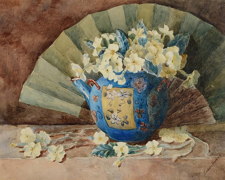 CORDELIA HARDING  Still life, primroses issuing from a Chinese tea pot