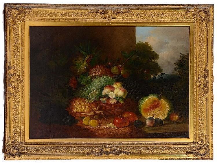 W * E * D * STUART (19TH CENTURY) Still life, an abundance of fruit an