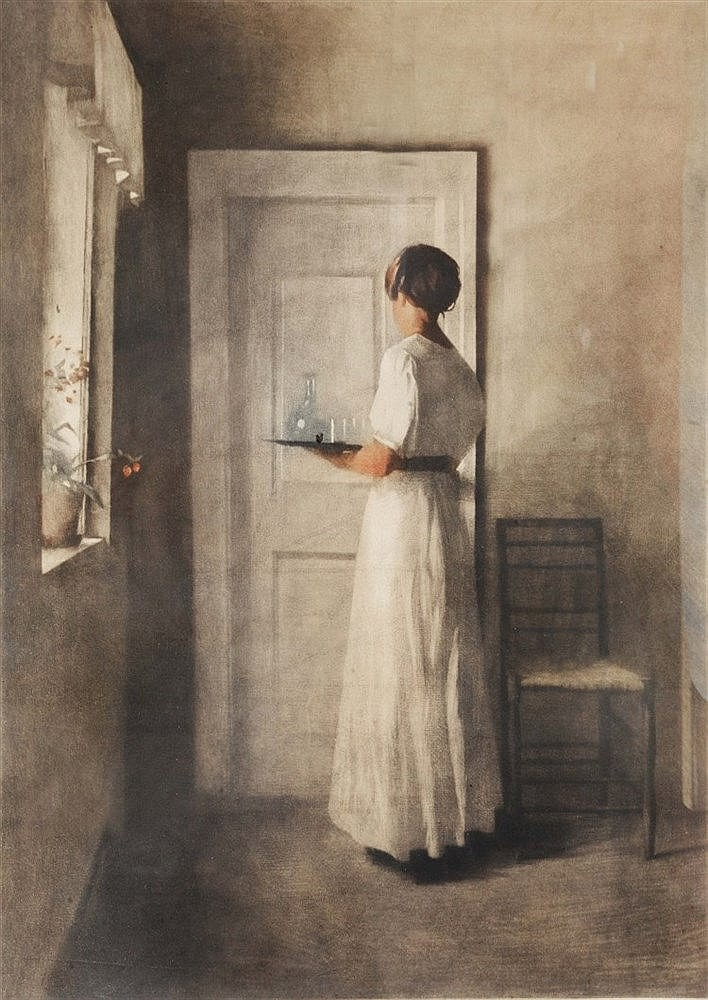 PETER VILHELM ILSTED (1861 - 1933) Girl with tray, mezzotint, pencil s
