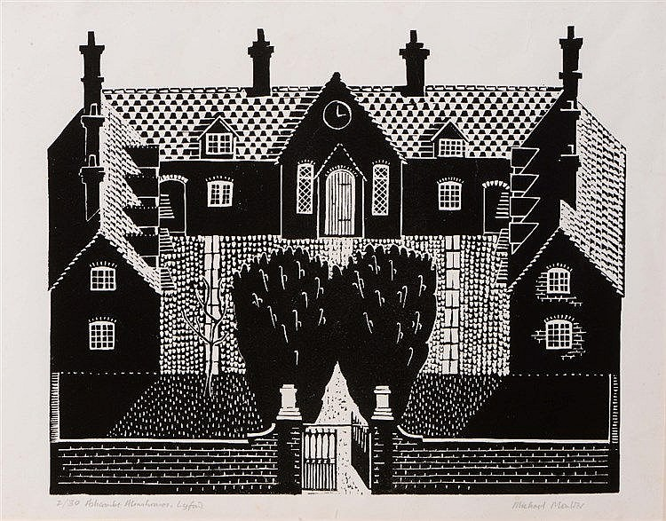 MICHAEL MOULDER 'Ashcombe Almshouses, Lynford', linocut, pencil signed