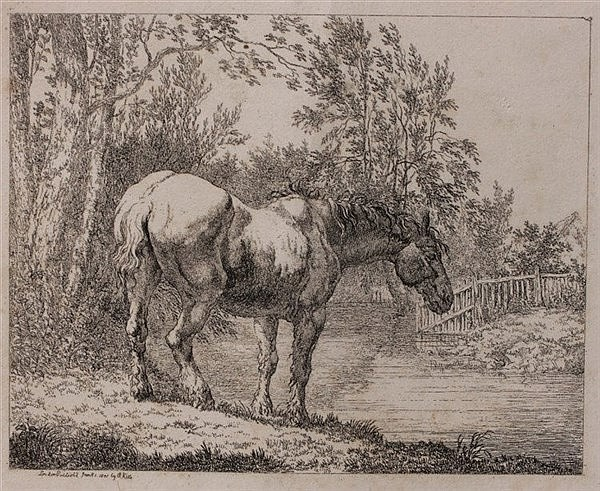 ROBERT HILLS Tired horse taking water, etching, 16.5 x 20 cm; and a qu