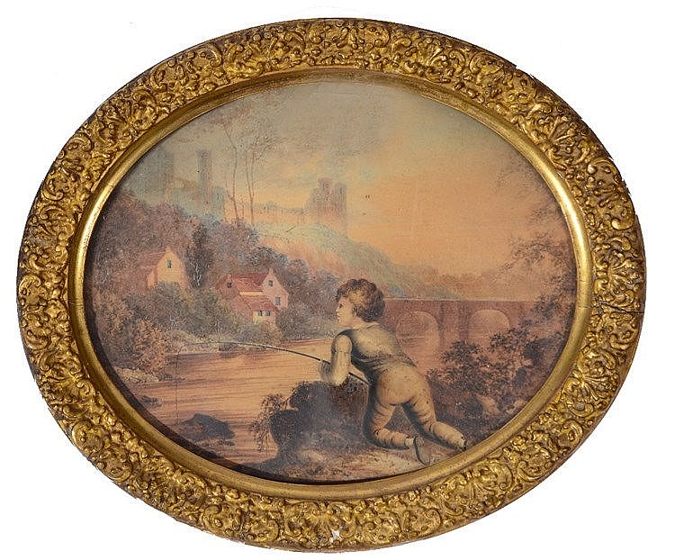 ENGLISH SCHOOL, C19TH A young boy fishing on a riverbank before a cast