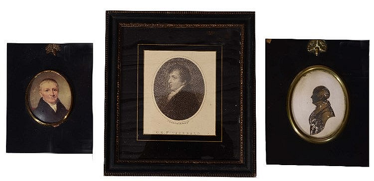 A C19TH MINIATURE OVAL PORTRAIT of a gentleman, wearing a black coat,