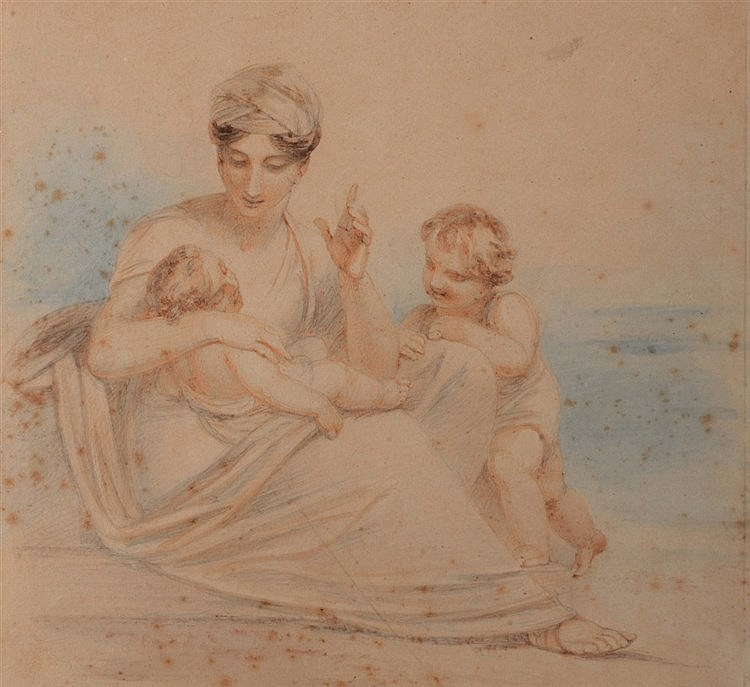 HENRY SINGLETON (1766-1839) Mother with children, pencil and watercolo