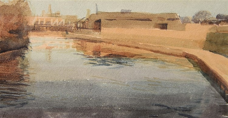 JOHN NEWBERRY (b. 1934) 'Timber Yards on the Thames at Oxford' signed,