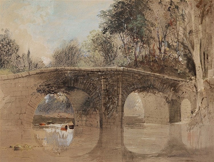 JOHN GENDALL (1790-1865) 'Brent Bridge, South Devon', pencil and water