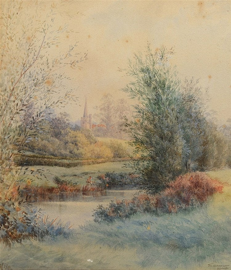 ENGLISH SCHOOL (LATE C19TH) The Medway near Farleigh, signed with init