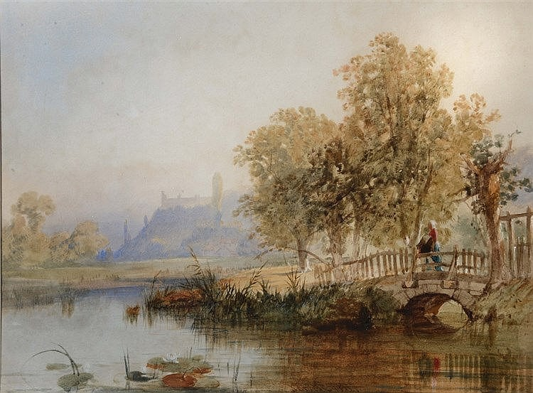 JAMES BAKER PYNE (1800-1870) Arundel Castle from the River Avon, signe
