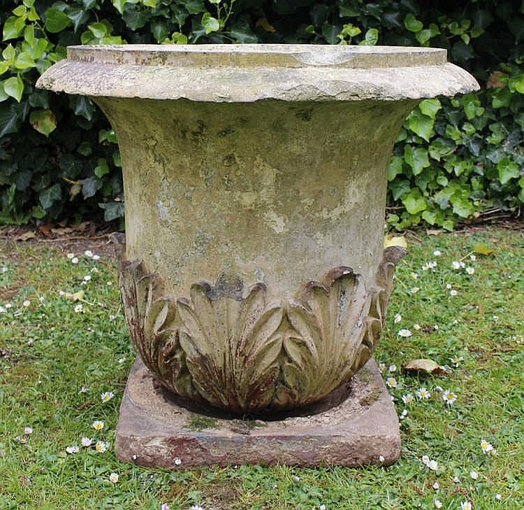 A victorian buff coloured urn of campana form with acanthus for Acanthus leaf decoration