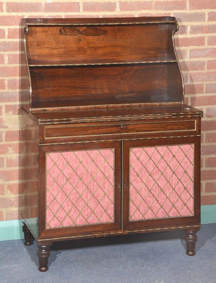 A REGENCY ROSEWOOD AND BRASS MOUNTED CHIFFONIER