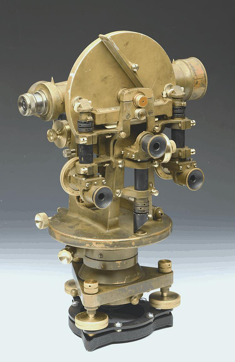 A GREEN LACQUERED THEODOLITE by E. R. Watts & Son