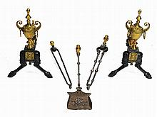 A PAIR OF 19TH CENTURY CAST IRON AND BRASS FIRE DOGS, 46cm h; and three ant