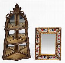 A CONTINENTAL GILTWOOD WALL MIRROR with painted panels, 42 x 35cm; and a gi