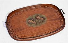 A SATINWOOD TWO HANDLED TEA TRAY painted in the style of Angelica Kauffmann