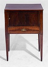 A DUTCH MAHOGANY AND ARROW INLAID BEDSIDE CABINET with tambour front, 47cm