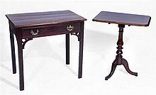 A GEORGE III MAHOGANY SIDE TABLE on chamfered legs, 76cm w x 48cm d; and a