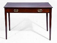 A GEORGE III MAHOGANY SIDE TABLE with goose and snake embossed brass handle