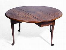 AN 18TH CENTURY MAHOGANY OVAL DINING TABLE with gateleg action, 132 x 121cm