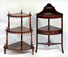 A VICTORIAN WALNUT, MARQUETRY INLAID WHATNOT, 66cm w x 87cm h; and a Sherat