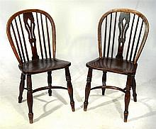 A PAIR OF WINDSOR ELM SIDE CHAIRS with crinoline stretchers, 44cm w