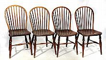 A SET OF FOUR ASH AND ELM SIDE CHAIRS on ring turned legs, 40cm w
