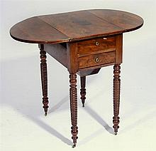 A MAHOGANY WORK TABLE fitted two drawers on spiral turned legs, c1840, 83cm