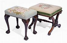 A VICTORIAN MAHOGANY DRESSING STOOL, 49cm x 43cm; and an 18th Century style