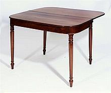 A GEORGE IV MAHOGANY FOLD OVER TEA TABLE on ring turned legs, 90.5cm w x 44