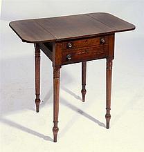 A GEORGE IV MAHOGANY WORK TABLE on ring turned legs, 76cm w x 45cm d x 70cm