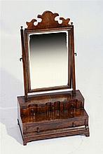 AN 18TH CENTURY WALNUT TWO STEP SWING TOILET MIRROR, 36cm w x 67cm h