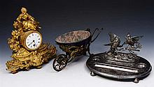 A SILVER PLATED DESK STAND, 29cm w; a French gilt metal mantel clock, 30cm