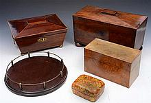 A GEORGE IV MAHOGANY SARCOPHAGUS TEA CADDY with fitted interior, 34cm w; th