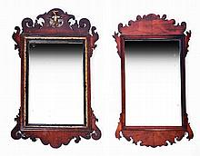 TWO GEORGIAN FRET FRAME WALL MIRRORS, one with eagle pediment, 72 x 43cm, 6