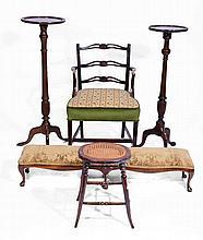 A LONG MAHOGANY STOOL on six cabriole legs, 120cm; two mahogany torcheres;
