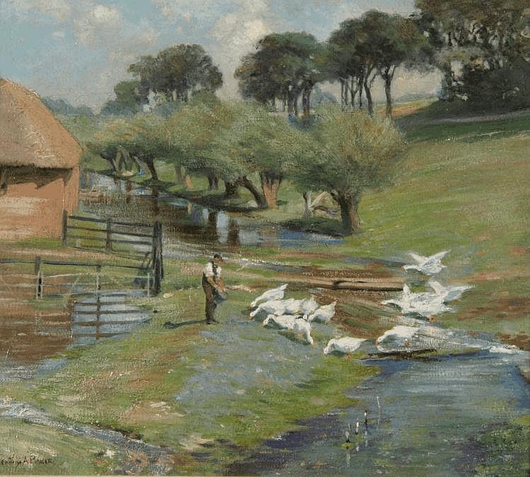GEOFFREY ALAN BAKER (1881-1959) Farmer feeding
