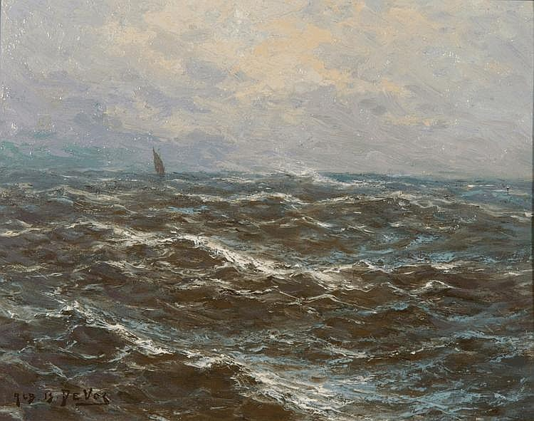 ALBERT ISIDORE DEVOS (1868-1950) Stormy seas with
