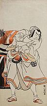 SHUNKO KATSUKAWA (Japanese, 1743-1812) Study of an actor, each signed, woodblocks, 32cm x 14cm