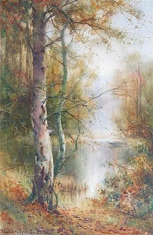 THOMAS TAYLER IRELAND (act. 1880-1927) a woodland pool, signed, watercolour, 20in x 13in; and companion a pair (2) (see illustration)