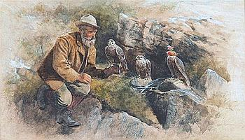 "ALLAN F BARRAUD (1847-1913) ""The falconer"","