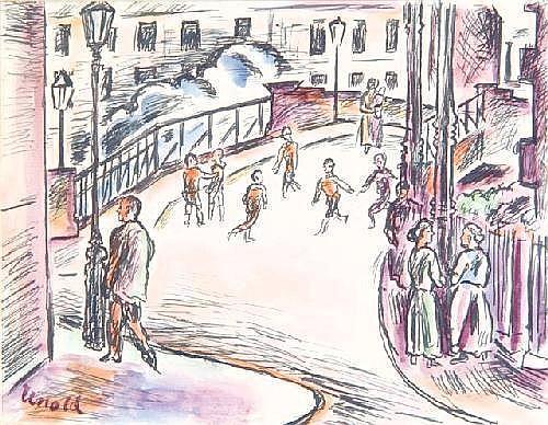 MAX UNOLD (1885-1964) - Street scene, signed, pen
