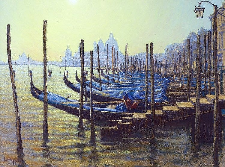 Lionel Aggett (British, b.1938)  Blue and Gold, Venice  signed (lower le