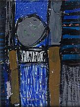 J. S. Cartier (American, b.1932) Abstract in black, blue, grey and yellow,