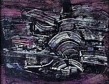 J. S. Cartier (American, b.1932) Abstract in black, white and purple, 1960