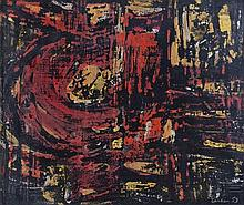 J. S. Cartier (American, b.1932) Abstract in black and red, 1959 signe