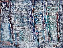 J. S. Cartier (American, b.1932) Abstract in white, blue and red signe
