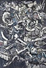 J. S. Cartier (American, b.1932) Abstract in white, grey, blue and black, 1